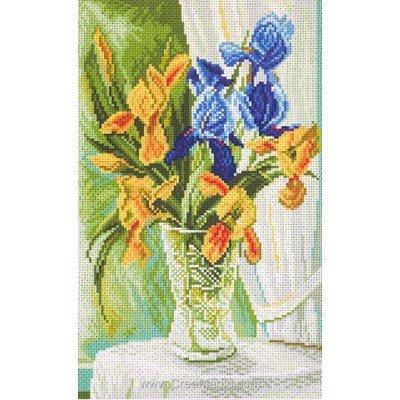 Kit broderie aida imprimée irises - iris - Collection d'art