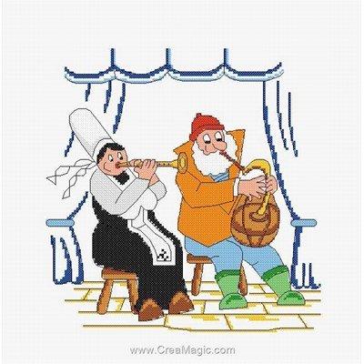 Le concert breton - mam'goudig broderie en point compté - Marie Coeur