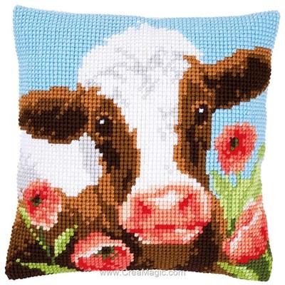 Kit coussin Vervaco vache dans champs au point de croix