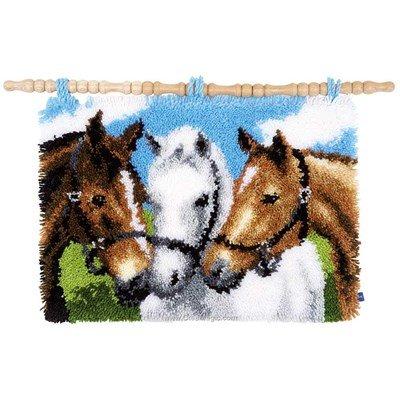Tapis point noué Vervaco trio de chevaux amis
