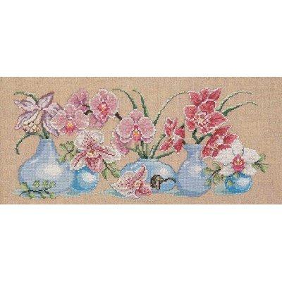 Broderie au point de croix point compté Permin orchidees dans les vases