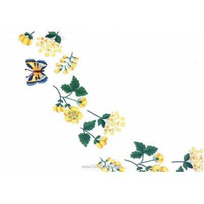 Serviette de table imprimée ribambelle en jaune en broderie traditionnelle - Montée dentelle de BrodArt
