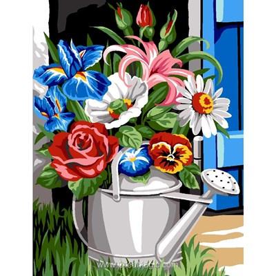 L'arrosoire fleuri canevas - Margot