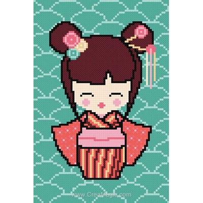 Modèle broderie point de croix sakura la kokeshi de Princesse