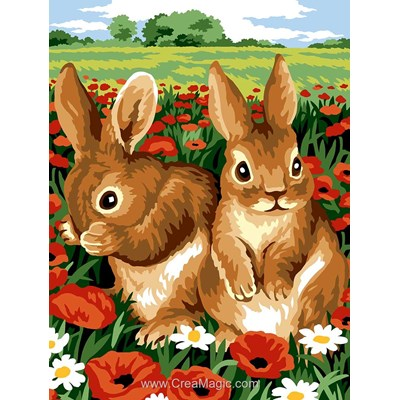 Margot canevas lapins dans le champs de coquelicots