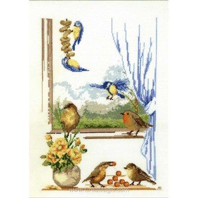 Fiche au point de croix oiseaux à la fenêtre d'Anagram