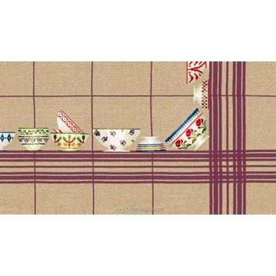 Kit nappe bols à carreaux violet 180x180 à broder au point de croix compté - Le Bonheur Des Dames