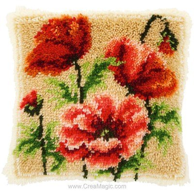 Kit coussin point noue Vervaco coquelicots