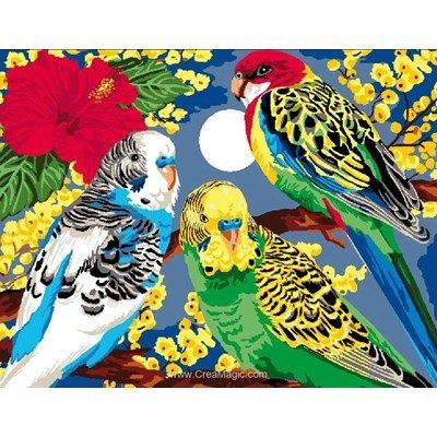 Luc Création canevas le trio de perroquets