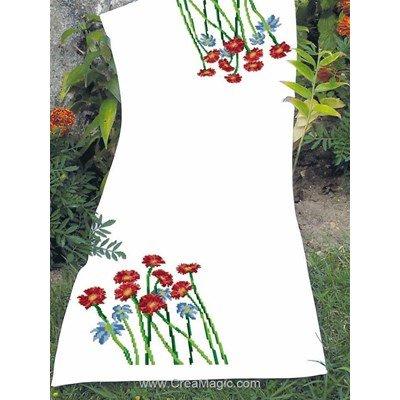 Chemin de table en kit à broder au point de croix compté fleurs fébriles - Luc Création