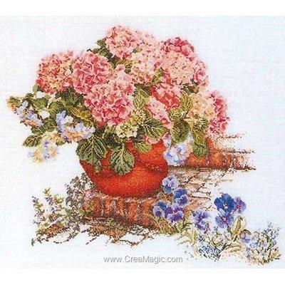Kit tableau point de croix pensées et hortensias sur lin de Thea Gouverneur