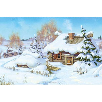 Kit broderie diamant chalet sous la neige - Diamond Painting