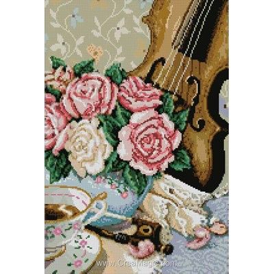 Kit broderie diamant violon et roses de Diamond Painting