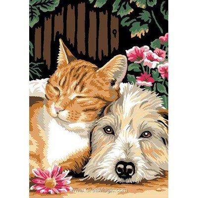 Luc Création canevas amitié chien et chat