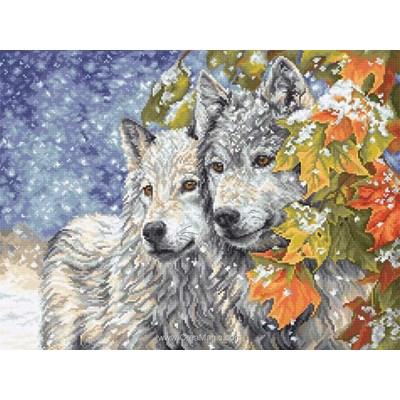 Modèle point de croix coule de loups en hiver - Luca-S