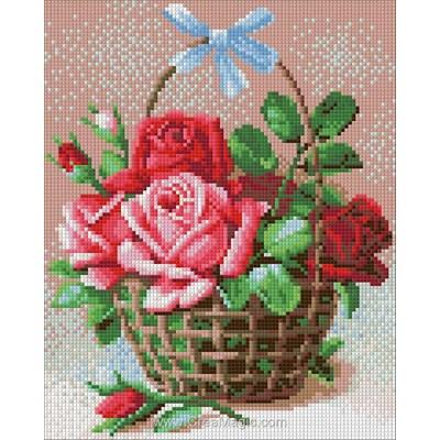 Broderie diamant basket of roses - Diamond Painting