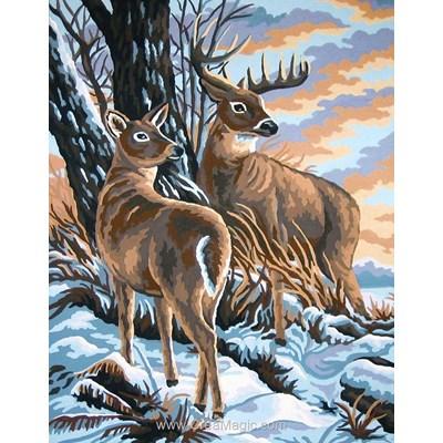 Le cerf et la biche dans la neige canevas de Collection d'art