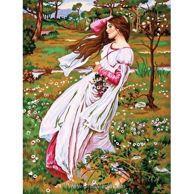 Collection d'art canevas femme d'époque dans le vent