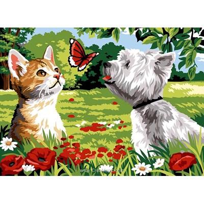Canevas chaton et westi et le papillon - SEG