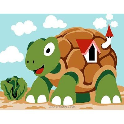 Canevas enfant en kit Margot la maison de la tortue