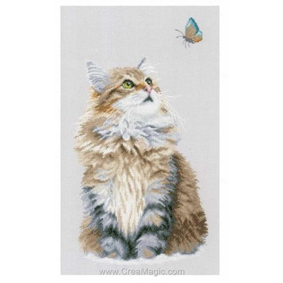 Chat angora et papillon point de croix compté - Lanarte
