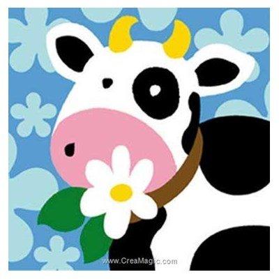 Kit canevas pour enfants la vache à la fleur - Margot