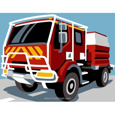 Kit canevas pour débutant Margot le camion de pompier
