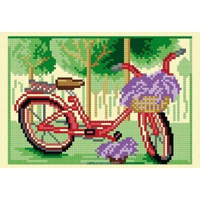 Point de croix de Luc Création à broder bicyclette de printemps