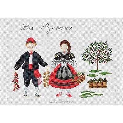 Kit de broderie imprimée Marie Coeur costumes traditionnels des pyrénées