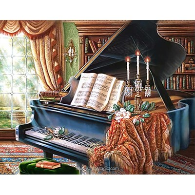Broderie diamant old piano - Wizardi