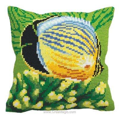 Kit coussin poisson exotique gauche au point de croix - Collection d'art