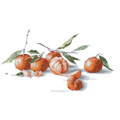 Mandarines broderie de Luca-S au point de croix
