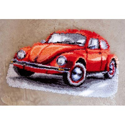 Kit tapis point noué volkswagen beetle rouge - Vervaco