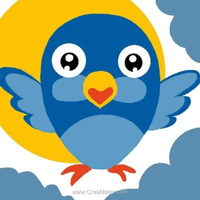 Kit canevas a broder pour enfants oiseau bleu de Luc Création