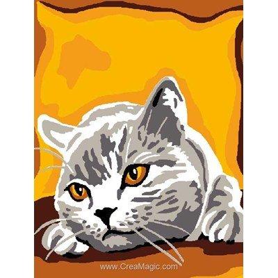 Kit canevas a broder pour enfants chat - chartreux - Luc Création