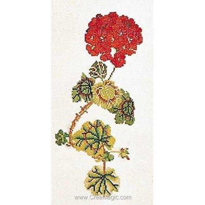 Broderie au point de croix point compté Thea Gouverneur geranium sur lin