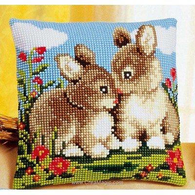 Kit coussin point de croix duo de lapins de Vervaco