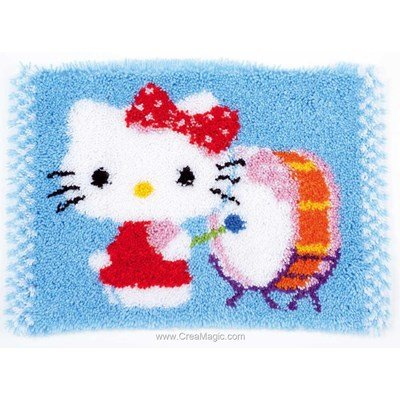 Tapis point noue kitty et son tambour de Vervaco