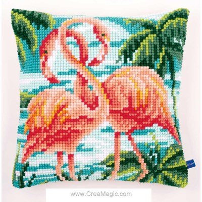 Coussin point de croix Vervaco flamants roses