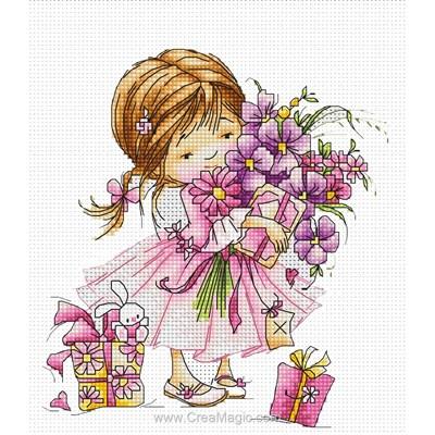 La fillette aux cadeaux broderie au point compté - Luca-S