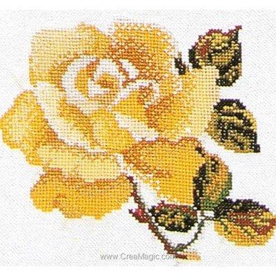 Rose yellow sur lin modèle au point de croix - Thea Gouverneur