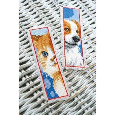 Marque-pages Vervaco chat et chien lot de 2 à broder