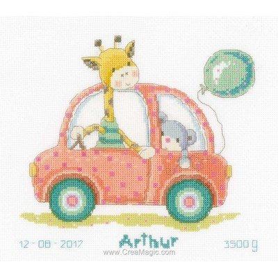 Point de croix bébé girafe en voiture de Vervaco