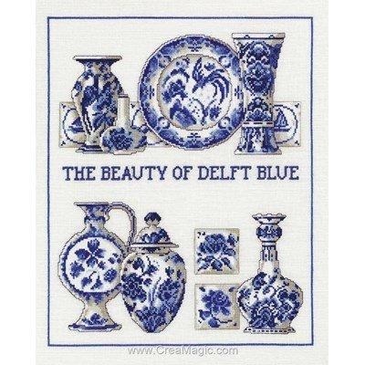 Point de croix de Permin à broder vaisselle bleu