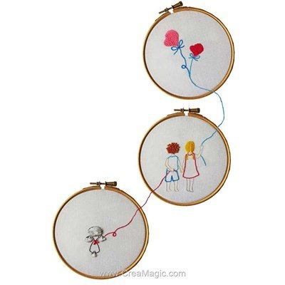 Kit broderie traditionnelle lot de 3 - cerf volant - Princesse