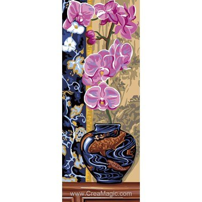 Canevas Royal Paris vase bleu d'orchidées