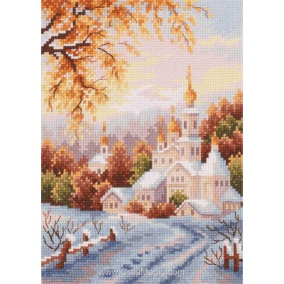Kit tableau Magic Needle point de croix snow monastery