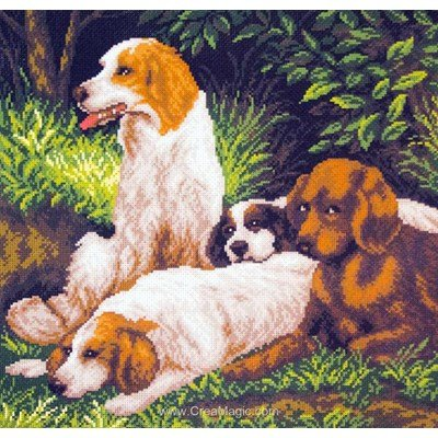 Broderie aida imprimée chien de chasse on a halt - Collection d'art