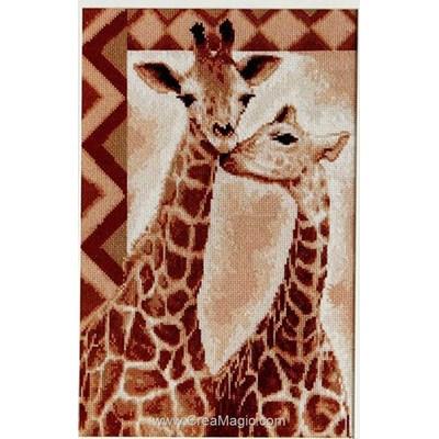 Broderie au point de croix Luca-S girafes affectives