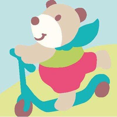 Kit canevas complet l'ours à la trotinette - DMC